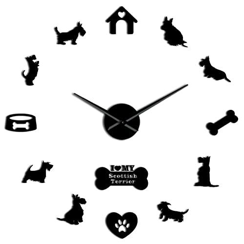 xinxin Reloj de Pared sin Marco Scottish Terrier Raza de Perro 3D DIY Reloj de Pared silencioso con Pegatinas de Efecto Espejo Reloj Reloj Animales Clínica Decoración Show