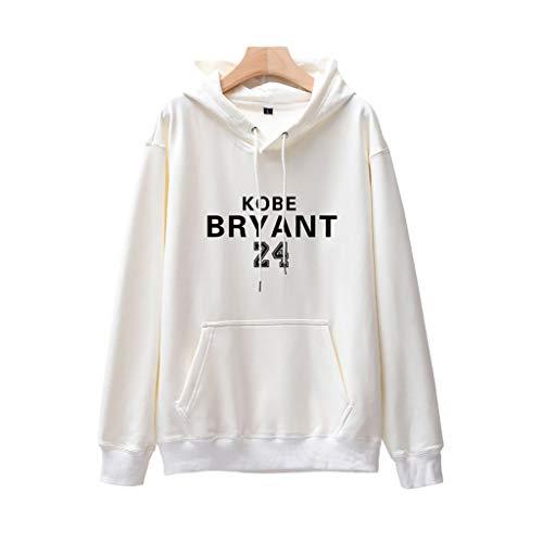 24# Kobe Bryant Hip Hop Basketball Hoodie Trikot, Herren und Damen Basketball Jersey T-Shirt Pullover Langarm-White-XXL