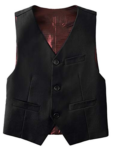 Fersumm Boy Suit Vest 3 Buttons Formal Dress Toddler Boys Kids Vest Black Size 2T