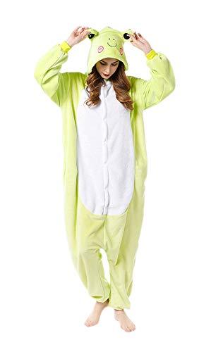 FunnyCos Pijama unisex de animal, para adultos, Halloween, cosplay, con capucha, ropa de salón rana L
