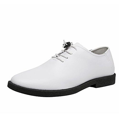 WUNONG Cuero Genuino de los Hombres Oxford Wingtips Pull Tape Lace Up Style Burnable Toe Shoes Resistiendo a la resbalón Negocio (Color : White, Size : 40 EU)
