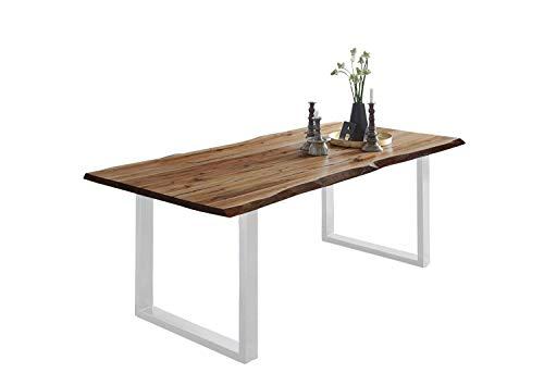 SAM Esszimmertisch 120x80 cm Noah, echte Baumkante, Esstisch aus Akazienholz naturfarben & massiv, U-Gestell in Weiß, Baumkantentisch mit 26 mm Platte