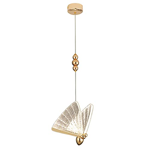 LINCCW Cuarto mariposa Lámpara de techo Moda Creativo Lámpara de noche Color dorado decoración Lámpara colgante Lámpara infantil acrílico metal material Para balcón escalera Habitación princesa
