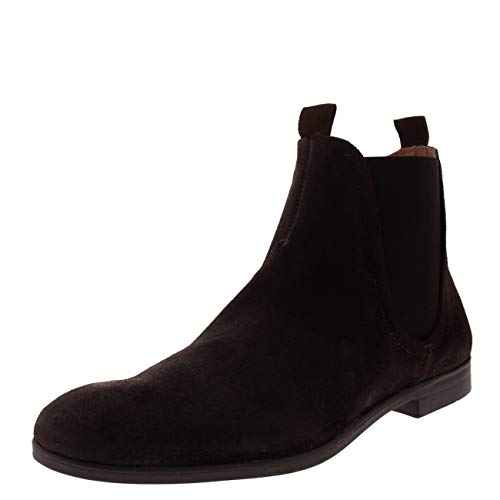 H By Hudson Mens Atherstone Waxed Suede Work Office Smart Ankle Boots - Brown - 11