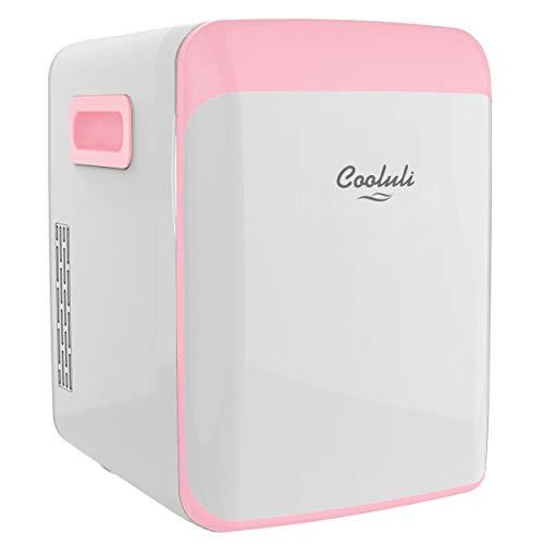 Cooluli 15L Mini Fridge for Bedroom - Car, Office Desk & College Dorm Room - 12V Portable Cooler & Warmer for Food, Drinks, Skin Care, Beauty, Makeup & Cosmetics - AC/DC Small Refrigerator (Pink)