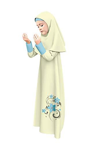 Gebet Langes Maxikleid Muslim für Mädchen Kinder Islamische Kleidung Lange Hijab Schals Body Cover (Gelb, 12-13)