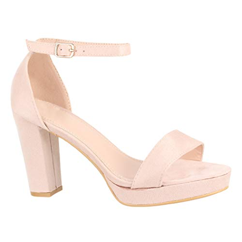 Elara Damen Pumps High Heels Chunkyrayan WW100 Beige-38
