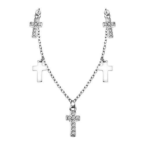 SOFIA MILANI - Collar para Mujeres en Plata de Ley 925 - con Circonitas - Colgante de Cruz - 50283
