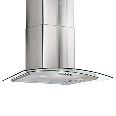 "Curved Glass Range Hood | Vent Hood Kitchen | 24"" Stainless Steel 