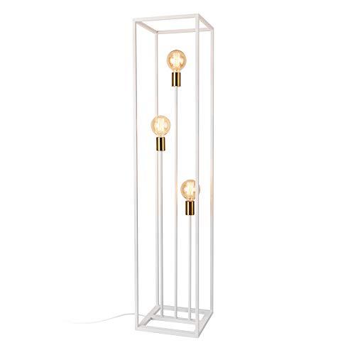 lux.pro Lampada da Terra Alta 140 cm Piantana in Metallo con 3 Luci E27 60W - Bianco con Portalampadine in Color Rame