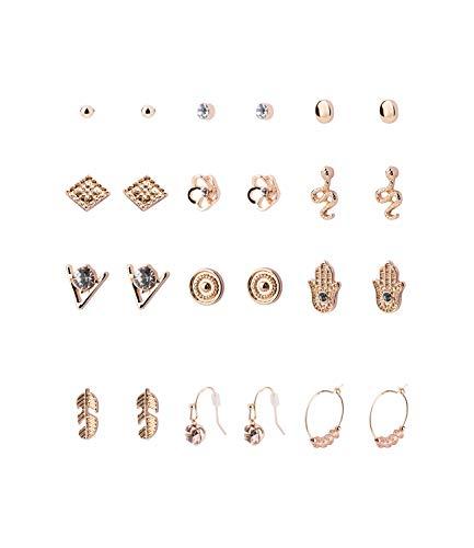 SIX 12er Set goldglänzende Ohrringe mit Strasssteinen und unterschiedlichen Motiven (549-676)