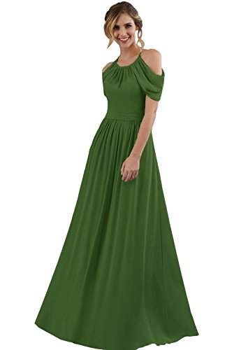 Women's Halter Off The Shoulder Wedding Evening Gown Floor Length Chiffon Bridesmaid Dress Olive Green Size 20