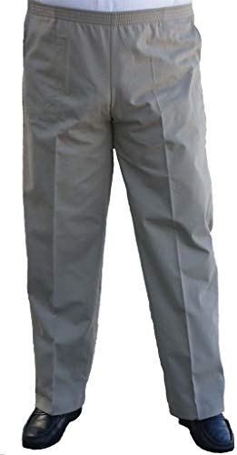 The Senior Shop Men's Full Elastic Waist, No Zipper, Buttons or Loops, Pull On Twill Casual Pant (L/30-Khaki)