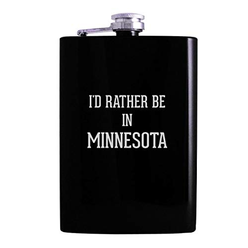 I'd Rather Be In MINNESOTA - 8oz Hip Alcohol Drinking Flask, Black