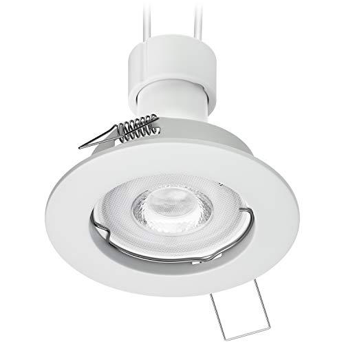 Inbouwspot voor plafond, inbouwframe, mat wit, GU10 PAR16 LED 6,8W = 60W 420lm, wit