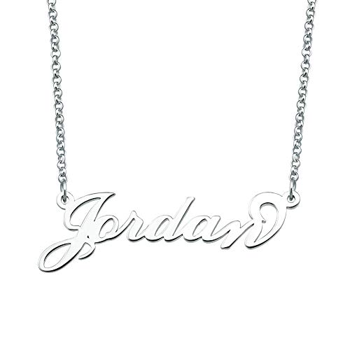 CLY Jewelry 925 Sterling Silver Plate Custom Customized Personalized Name Necklace for Women Girls