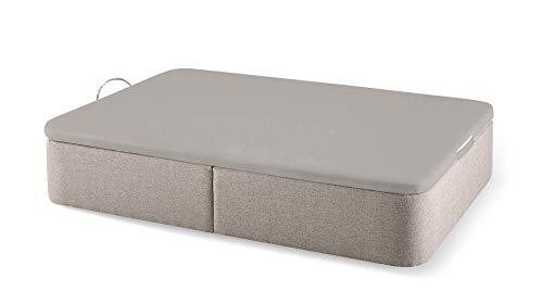 Naturconfort Canapé Abatible Romer Piedra Premium Tapizado Gran Capacidad Tapa 3D Gris 135x190cm Envio y Montaje Gratis