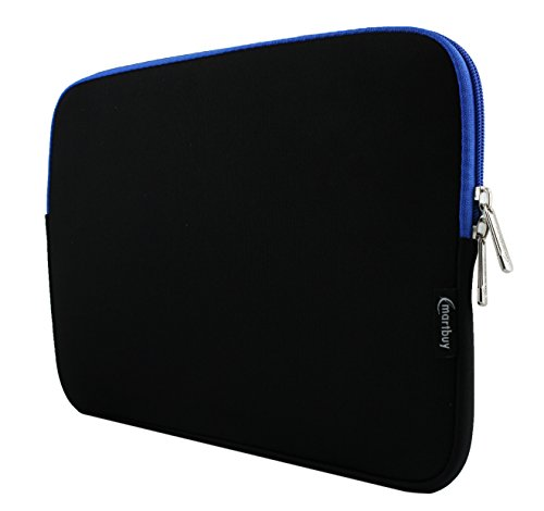 Emartbuy® Schwarz/Blau 12.5-14 Zoll Wasserdicht Neopren weicher Reißverschluss Kasten Abdeckung Sleeve with Blau Interior und Zip for ODYS Trendbook Next 14 HD Notebook 14 Zoll