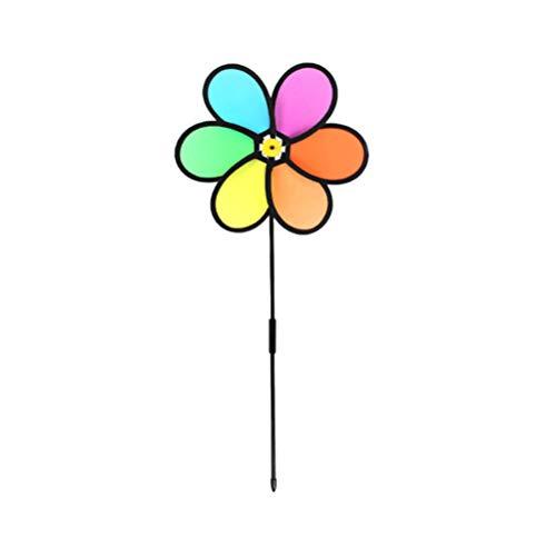 BESPORTBLE 2 Piezas Molinetes Molino de Viento de Juguete Arco Iris Molino de Viento Hilandero para Niños Juguetes Al Aire Libre para Niños Decoración de Césped de Jardín para Niños