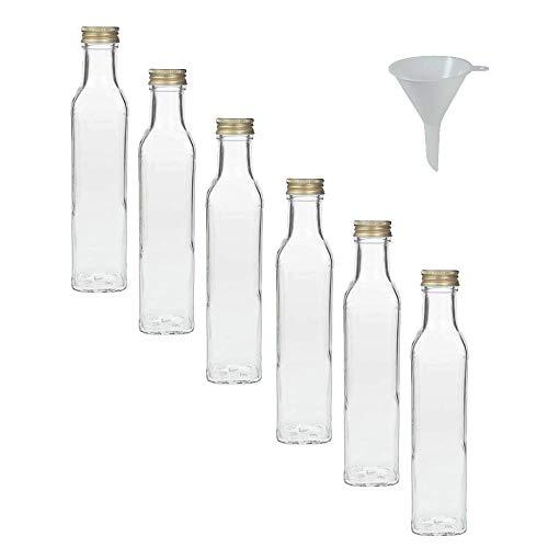 Viva Haushaltswaren - Juego de Botellas de Cristal (con tapón de Rosca, 6 Unidades, 250 ml, rellenables, Incluye Embudo de 7 cm)