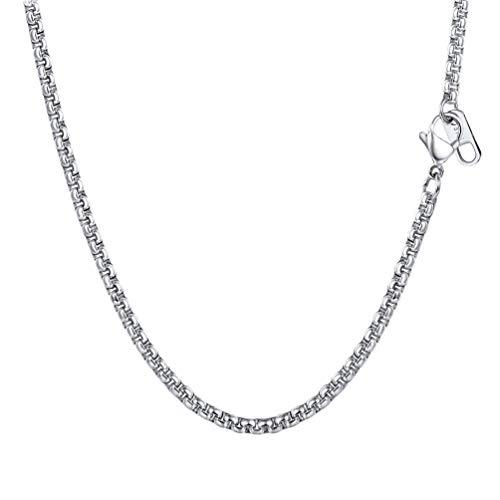 PROSTEEL Collar de Hombre de Acero Inoxidable Cadena Veneciana Cadena de Eslabones Cuadrados 3mm/6mm Ancho Box Chain Plateado/Dorado/Negro con Caja de Regalo