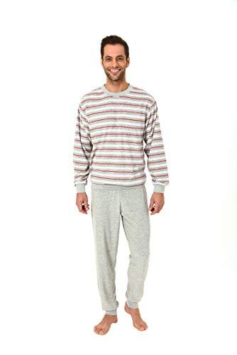 Eleganter Herren Frottee Pyjama Schlafanzug lang mit Bündchen - auch in Übergrössen 61505, Größe2:52, Farbe:grau-Melange