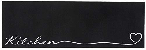 Zala Living - Tappeto da cucina lavabile, 50 x 150 cm, 100% poliammide, antiscivolo, adatto al riscaldamento a pavimento, colore: Nero/Bianco