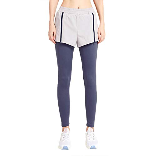 Pantalones De CháNdal De Dos Piezas Falsos De Estiramiento De Yoga para Correr De Secado RáPido Apretado para Mujer(Morado Oscuro,S)