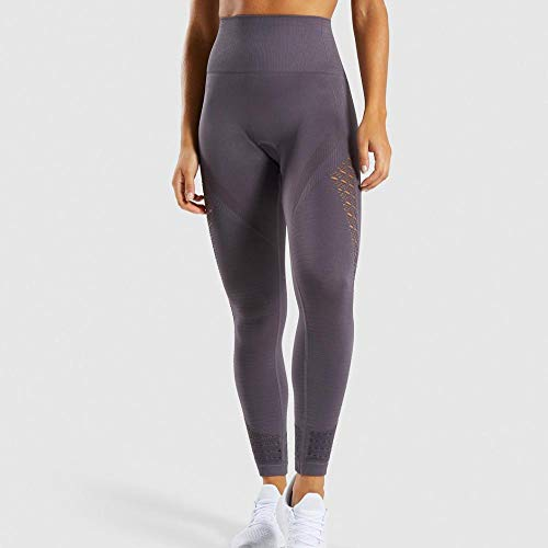 Ideal para Danza Correr Trotar Ejercicio ,Pantalones de yoga sin costuras para mujer, Leggings huecos de cintura alta, Pantalones de gimnasia elásticos para correr-Grey_S,Polainas para Running Pilates