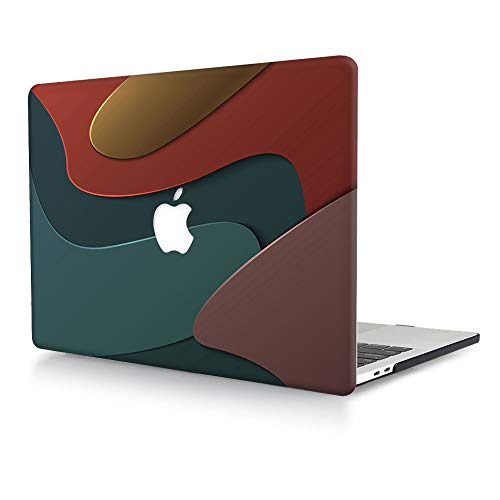 AJYX Case for MacBook Pro 15 inch 2019 2018 2017 2016 Release A1990 / A1707, Plastic Pattern Protective Hard Shell Case Cover Compatible with MacBook Pro 15 with Touch Bar - Green & Red