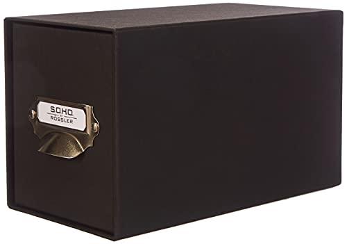 Rössler 1327452700 - S.O.H.O. Aufbewahrungs CD-Schubladenbox, mit beschriftbarem Einsteckschild und Griff, schwarz