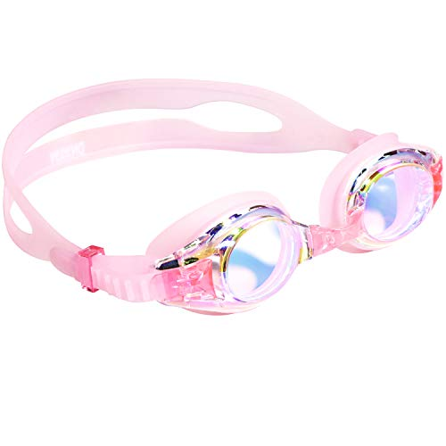aegend Kids Goggles, Swim Goggles for Kids Age 4-16 Little Boys and Girls Youth Swim Goggle, Clear Vision, Soft Silicone, No Leak, UV Protection, Anti-Fog, Free Protection Case, Light Pink