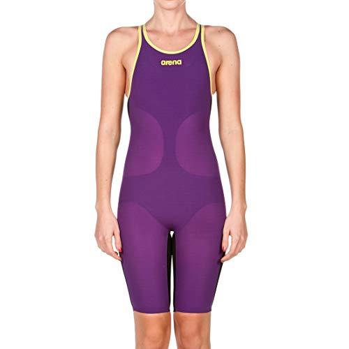 ARENA Damen Badeanzug Powerskin Carbon Air offener Rücken, Damen, Badeanzug, 1A884-913-30, Pflaume/Fluo Gelb, 30