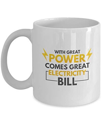 Regalos para electricistas: con gran potencia viene una gran factura de electricidad Electricista, técnico eléctrico, trabajo de instalador de líneas, servicio eléctrico, taza blanca, taza de café de