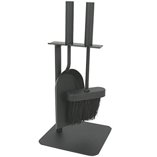 COM-FOUR® 3-delige haardset in zwart in compact formaat van metaal, met schep, bezem en houder, ideaal voor kachels (003 bestek)