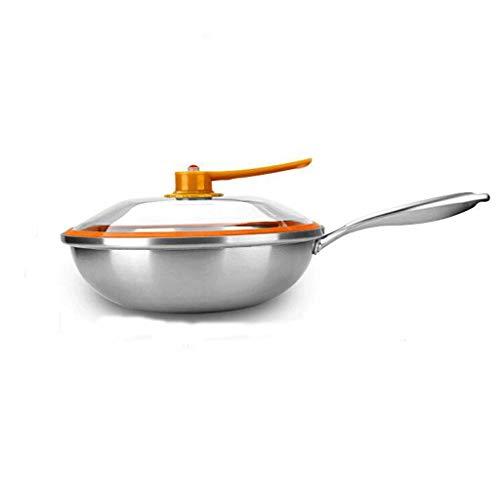GFDFD Sartén Wok con tapa y bono Premium - Sartén de acero inoxidable con mango ergonómico y superficie antiadherente antiadherente resistente - Robusto