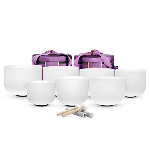 "TOPFUND Chakra Tuned Set of 3 Crystal Singing Bowls 8-12 inch with Heavy Duty Carrying Case and Singing Bowl Mallet Suede Striker (8"" B 10"" E 12"" C)"