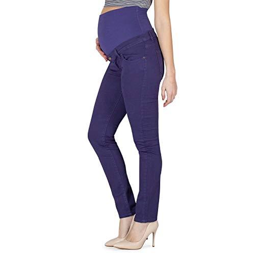 MAMAJEANS Maiori – Pantalón premamá de cinco bolsillos Slim Fit, cintura baja pre y post embarazo – Fabricado en Italia violeta L