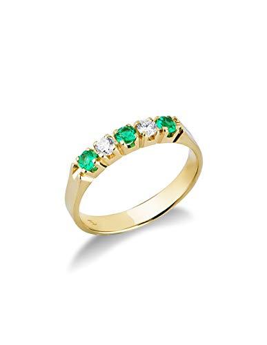 Gioielli di Valenza - Anello Veretta a 5 pietre in Oro Giallo 18k con Diamanti e Smeraldi - FE5RA008GBS - 15
