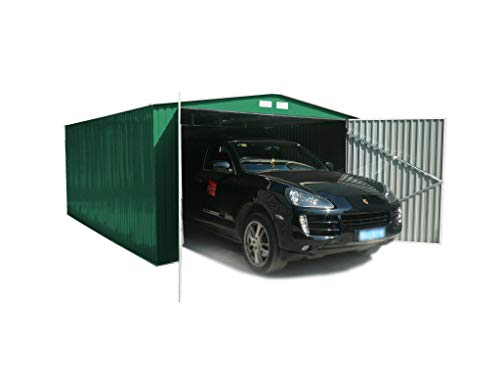 GARDIUN Garaje Metálico Kent 18,20 m² Exterior 480x380x232 cm Verde - KIS12805