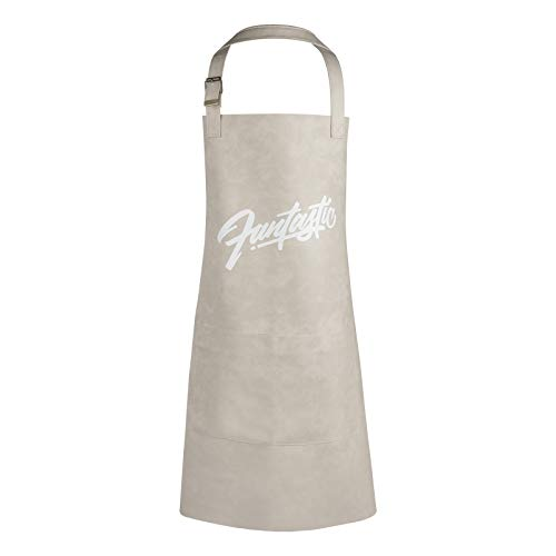 Delantal de Cocina Impermeable Cuero Delantales con Bolsillos y Ajustable Correa para el Cuello para Hombre y Mujer Blanco Crema