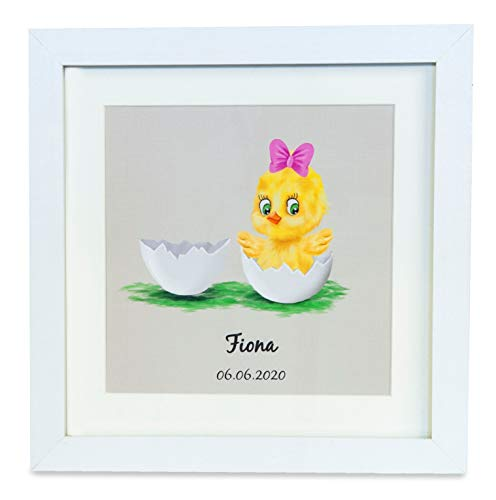Personalisierte Babygeschenk zur Geburt Mädchen inkl. Rahmen, Geburtsbild, Taufgeschenk Mädchen, Name + Geburtstag Handmade ausgefallenes Geschenk Geburt Geld, Verpackung Namensbild