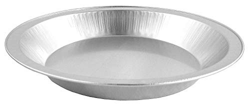 "Pactogo 9"" Disposable Heavy Smooth-Wall Aluminum Foil Pie Pans"