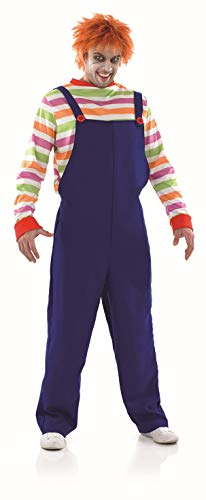 fun shack Mens Evil Horror Movie Doll Costume Adults Scary Film Character Outfit - X-Large