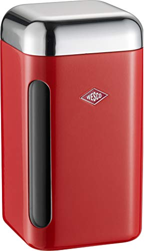 WESCO 321 203 Vorratsdose eckig rot 11 x 11 x 19.5cm (L/B/H), Kunststoff
