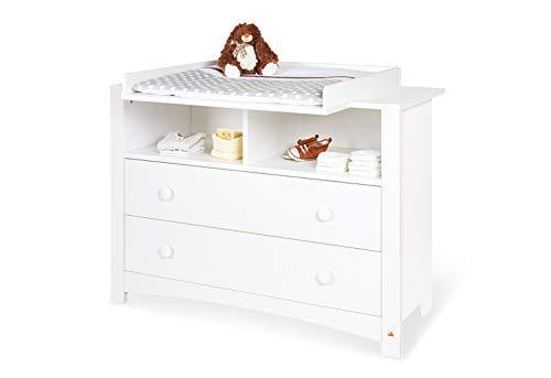 Pinolino Wickelkommode Florentina extrabreit, mit abnehmbarem Wickelaufsatz und 3 Möbelknopf-Sets, für Babys und Kleinkinder, aus weißem Dekor