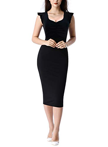 VFSHOW Womens Black Vintage Elegant Ruffle Sleeve Ruched Slimming Casual Work Business Office Cocktail Party Bodycon Sheath Midi Dress Z3029 BLK XXL