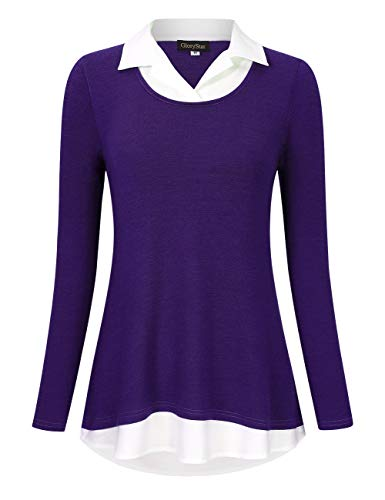 GloryStar Women's Long Sleeve Contrast Collared Shirts Patchwork Work Blouse Tunics Tops Long Sleeve Purple XL