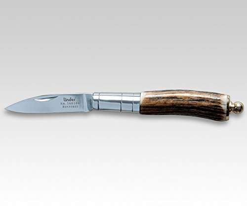 Linder Navaja, Inoxydable, 420, Corne de cerf Poignée Manche 7,5 cm, Forme Espagnole
