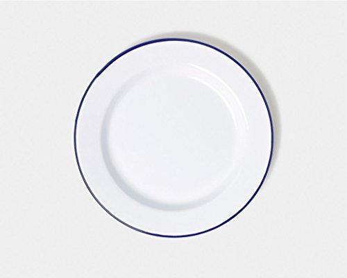 Assiette de 26 cm à bord large en émail par Genware 45026 - Blanc/bleu